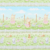 Friendship Blossoms - Bunny in the Meadow Stripe Multi Yardage