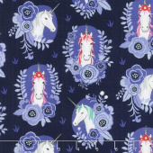 My Unicorn - Portrait Navy Yardage