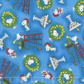 Peace Love Joy - Snoopy and Woodstock Christmas Blue Yardage