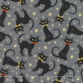 Midnight Spell - Black Cats Black Metallic Yardage