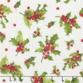 Poinsettia & Pine - Holly & Berries Cream Yardage