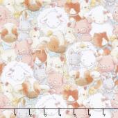 Cotton Tale Farm - Packed Farm Animals Multi Flannel Yardage