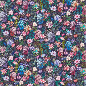 Topia - Packed Flowers Night Digitally Printed Yardage