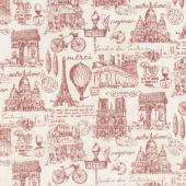 Paris, Always a Good Idea - Paris Toile Red Yardage