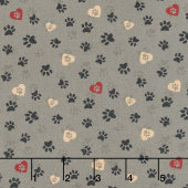 Wigglebutts - Love Paws Gray Yardage