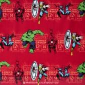 Marvel Comics III - Price & Hero Stripe Red Yardage