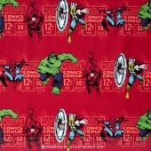 Marvel Comics III - Price & Hero Stripe Red Yardage