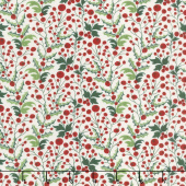 Kringle and Claus - Holly Berry Snow Yardage