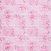 Hearts of Love - Monotone Scroll with Words Pink Yardage