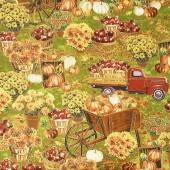 Autumn Bounty - Apple Picking Scenic Harvest Metallic Yardage