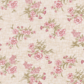 Tickled Pink - Vintage Floral Toss Cream Yardage