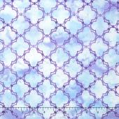 Peony Passion - Lattice Blue Purple Yardage