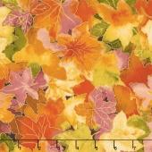 Autumn Air - Forest Floor Mulberry Metallic Yardage