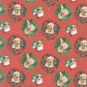 Santa's Helpers - Puppies Wreaths Red Digitally Printed Yardage