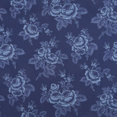 Abigail Blue - Large Floral Navy Blue Yardage