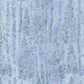 Icicle Batiks - Snow Trees French Blue Yardage