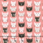 Meow - Meow Faces Pink Yardage