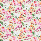 Orchids in Bloom - Orchids Green Multi Digitally Printed Yardage