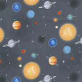 Out of this World with NASA - Nasa Planets Charcoal Yardage