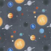 Out of this World with NASA - Nasa Planets Charcoal Yardage