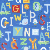 Alphabet Soup Flannel - Alphabet Feature Blue Multi Yardage