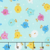 Some Bunny Loves You - Mini Chicks Light Aqua Yardage