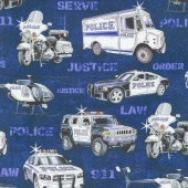 Protect & Serve - Police Vehicles Navy Yardage