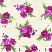 Wild Orchid - Spaced Orchid Bouquets Cream Yardage