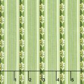 Emma's Garden - Little Stripe Green Yardage