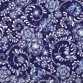 Daisy Blue - Fine Flourish Delft Yardage