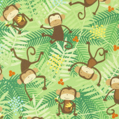 Animals - Go Bananas Monkey Green Yardage
