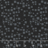 Cat - i - tude - Small Geo Squares Black Yardage