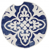 Indigo Patterns Car Coaster - Leaf Medallion