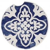 Indigo Patterns Car Coaster - Leaf Medallion