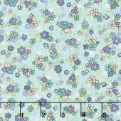 Katie Jane - Multi Floral Teal Yardage