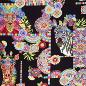 Safari, So Goodie - Animals and Medallions Black Yardage