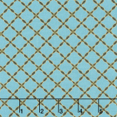 Grand Illusion - Lattice Turquoise Metallic Yardage
