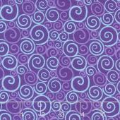 Catmosphere - Swirls Purple Yardage