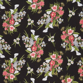 Magnificent Blooms - Bouquet Medium Black Multi Yardage