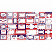 Red, White and Starry Blue - Label Pattern Panel