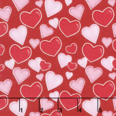 Love Struck - Tossed Hearts Red Yardage