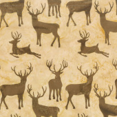 Oh Deer Batiks - Deer Groupings Sahara Yardage