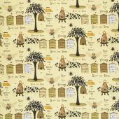 Bee a Keeper - Various Bee Keeper Motifs Yellow Yardage