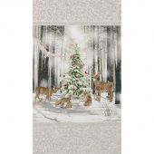 Winter White 3 - Ice Tree Animals Snow Ice Metallic Panel
