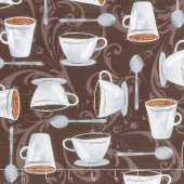 Dark Roast - Cups on Scroll Espresso Yardage