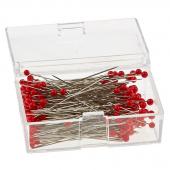 """IBC Glass Head Silk Pins 1-3/8"""" 250ct Red"""