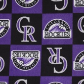 MLB Fleece - Colorado Rockies Purple Yardage