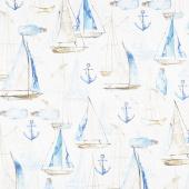 Sail Away - Large Sail Boats Cream Digitally Printed Yardage