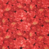 Garden Rose - Packed Large Red Roses Black Yardage