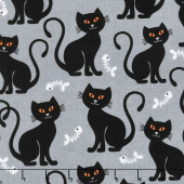 Bats and Black Cats - Bone Appetit Gray Yardage